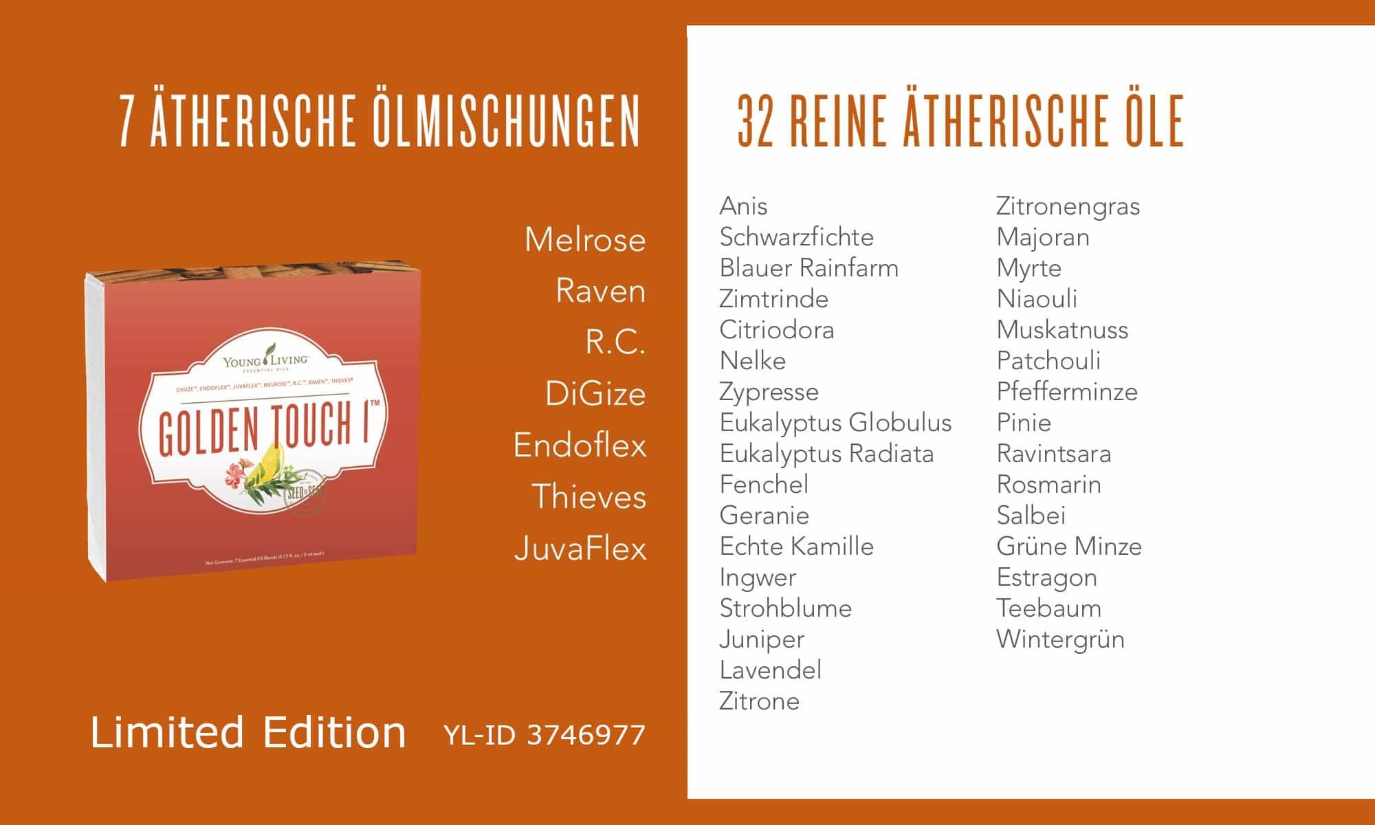 Liste der ätherischen Öle im Golden Touch Set 1 (Limited Edition)
