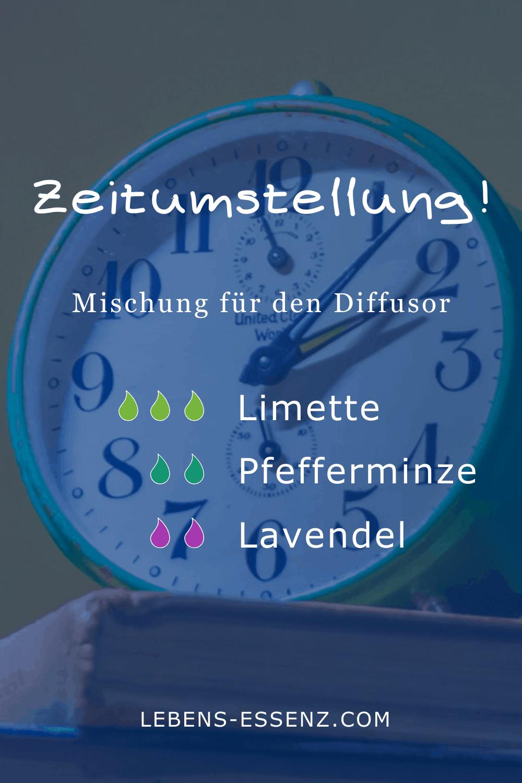 "Diffusormischung ""Zeitumstellung"": 3 Tropfen Limette, 2 Tropfen Pfefferminze, 2 Tropfen Lavendel"